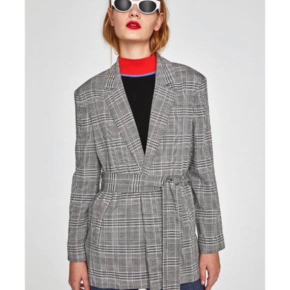 c8d551ad36e Zara checked blazer with tie belt